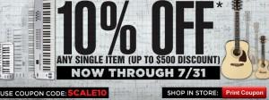 Guitar Center 10 Day 10% sale!