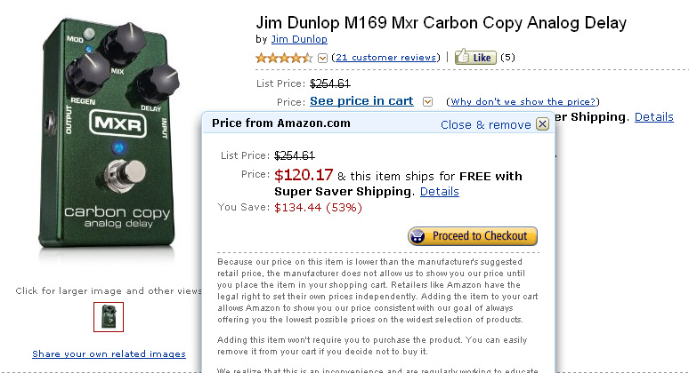 Killer deal on the MXR M169 Carbon Copy at Amazon!