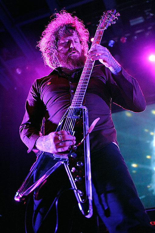 Brent Hinds of Mastodon with his Electrical Guitar Company (EGC) Flying V