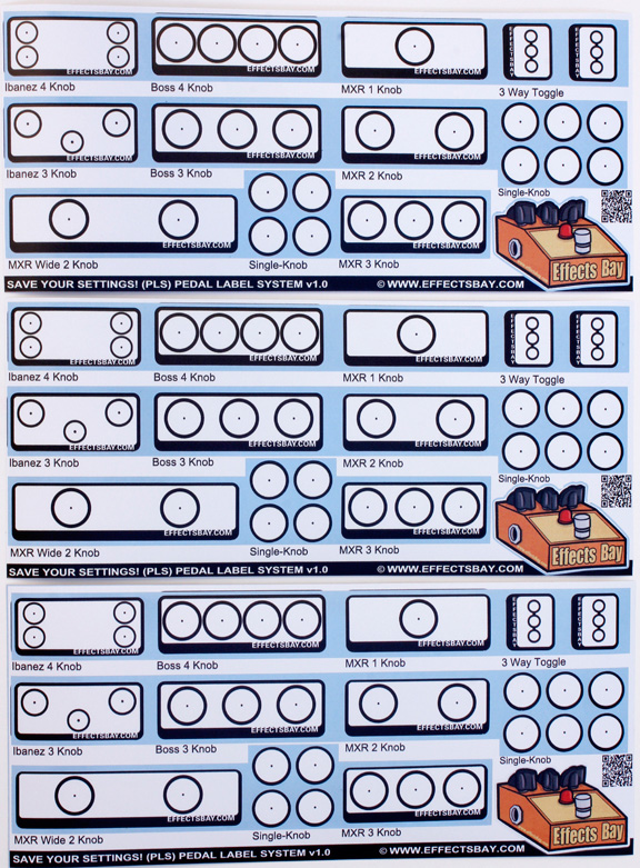Pedal Labels Sheet One