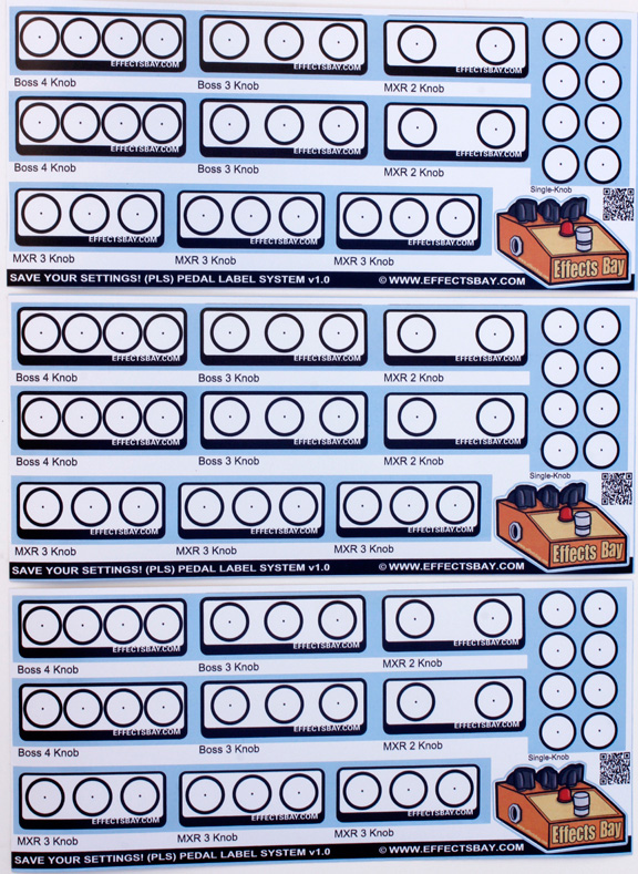 Pedal Labels Sheet Two