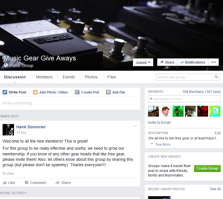 Music Gear Give Aways - Facebook Group