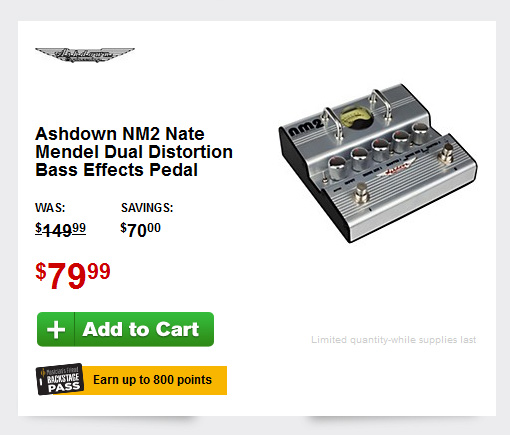 Deal Alert - Ashdown NM2 Nate Mendel Dual Distortion