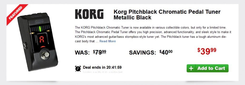 blow out deal korg pitchblack chromatic pedal tuner metallic black effects bay. Black Bedroom Furniture Sets. Home Design Ideas