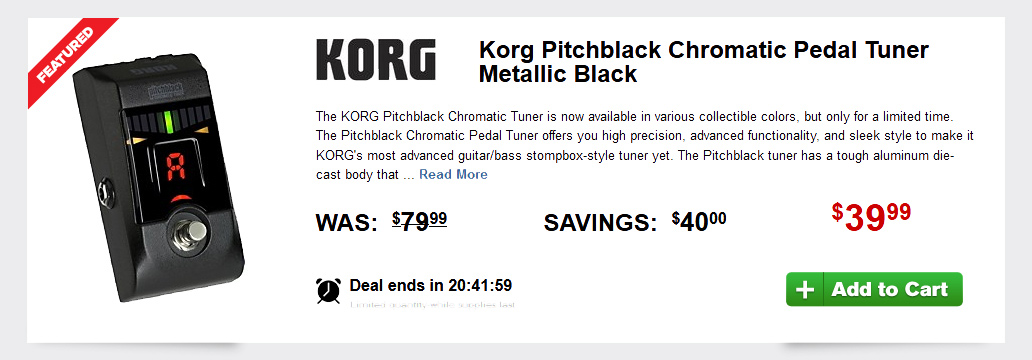 Blow Out Deal - Korg Pitchblack Chromatic Pedal Tuner Metallic Black