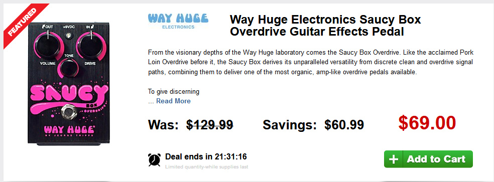 Stupid Deal on the Way Huge Electronics Saucy Box Overdrive